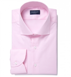 Thomas Mason Pink Wrinkle-Resistant Houndstooth Custom Dress Shirt