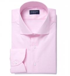 Thomas Mason Pink Wrinkle-Resistant Houndstooth Custom Dress Shirt