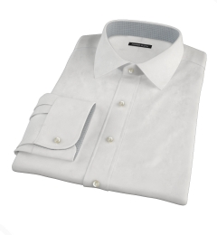 Albini White Lattice Grid Dress Shirt