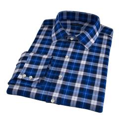Cascade Cobalt Plaid Flannel Fitted Dress Shirt