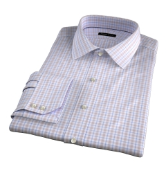 Novara Beige and Light Blue Check Tailor Made Shirt