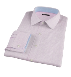 Carmine Pink Prince of Wales Check Custom Dress Shirt