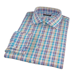Aqua Brown Summer Plaid Custom Dress Shirt