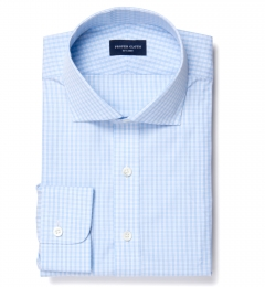 Trento 100s Sky Blue Check Tailor Made Shirt