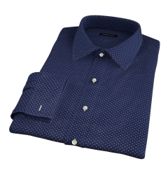 White on Navy Printed Pindot Fitted Dress Shirt