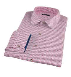 Red Navy Mitchell Check Flannel Fitted Dress Shirt