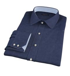 Navy Cotton Linen Oxford Men's Dress Shirt