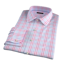 Adams Red Multi Check Men's Dress Shirt