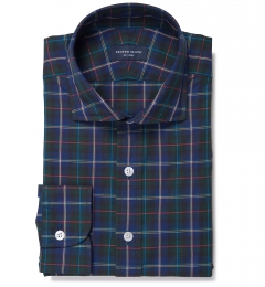 Wythe Blue and Green Plaid Fitted Dress Shirt