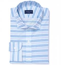 Albini Aqua Blue Horizon Stripe Custom Dress Shirt