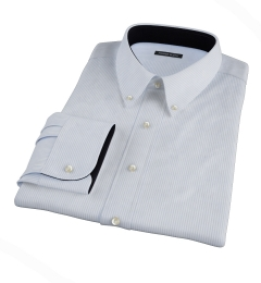 140s Light Blue Wrinkle-Resistant Stripe Fitted Dress Shirt