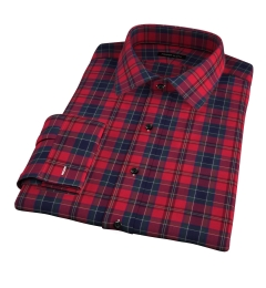 Wythe Red and Navy Plaid Fitted Dress Shirt