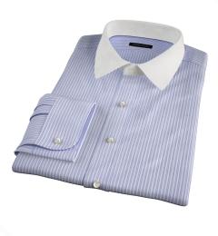 Canclini 140s Blue End-on-End Stripe Dress Shirt