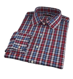 Vincent Red and Orange Plaid Fitted Shirt