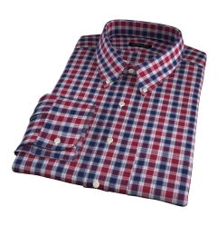 Vincent Crimson and Navy Plaid Fitted Dress Shirt