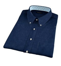 Navy Cotton Linen Oxford Short Sleeve Shirt