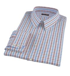 Thomas Mason Blue & Brown Gingham Custom Dress Shirt