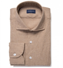 Canclini Camel Mini Herringbone Flannel Fitted Dress Shirt
