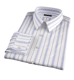 Albini Blue Folk Stripe Fitted Dress Shirt