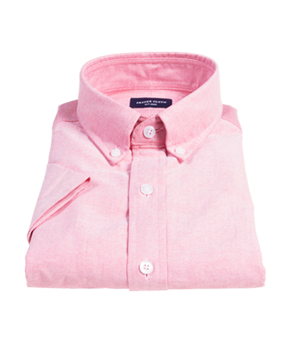 Red Heavy Oxford Cloth Fitted Shirt
