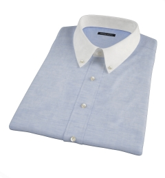 Canclini Blue Cotton Linen Oxford Short Sleeve Shirt