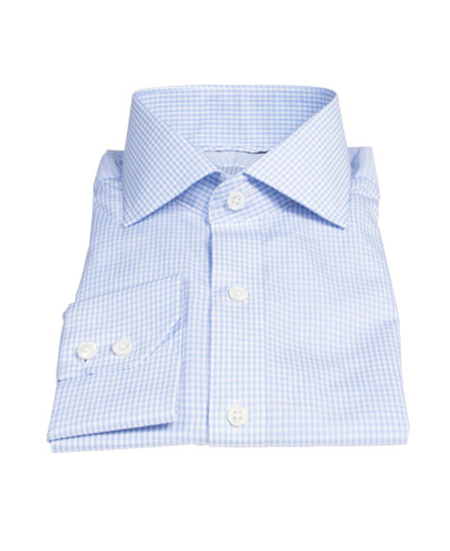 100s Pale Blue Mini Gingham Fitted Shirt