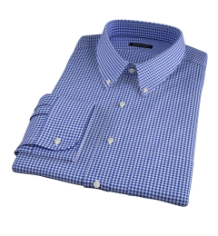 Melrose 120s Royal Blue Mini Gingham Fitted Dress Shirt