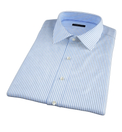 140s Blue Wrinkle-Resistant Bengal Stripe Short Sleeve Shirt