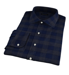Canclini Navy Tonal Plaid Beacon Flannel Fitted Dress Shirt