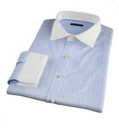 Thomas Mason Goldline Light Blue Box Check Dress Shirt