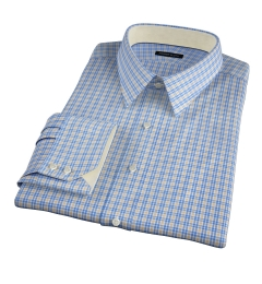 Rye 120s Blue and Yellow Multi Check Fitted Shirt