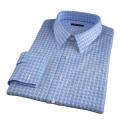 Rye 120s Light Blue Multi Check Men's Dress Shirt