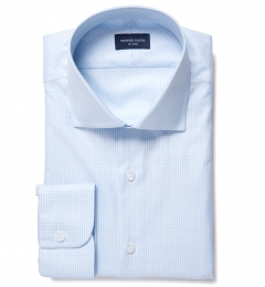 Greenwich Light Blue Mini Check Tailor Made Shirt