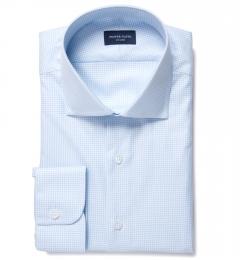 Greenwich Light Blue Mini Check Tailor Made Shirt
