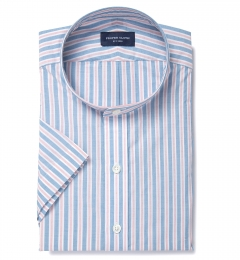Albini Blue and Red Summer Stripe Dress Shirt