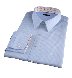 Chambers Light Blue Wrinkle-Resistant Check Fitted Shirt