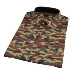 Fatigue Camouflage Print Short Sleeve Shirt