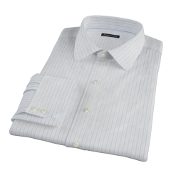 Albini Light Blue Satin Stripe Men's Dress Shirt