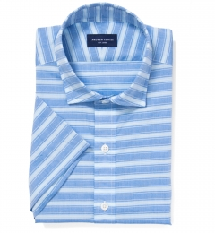Albini Blue White Horizon Stripe Tailor Made Shirt