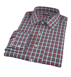Red and Blue Block Plaid Dress Shirt