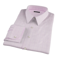 Carmine Pink Prince of Wales Check Dress Shirt