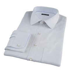 Thomas Mason Light Blue End on End Stripe Fitted Dress Shirt