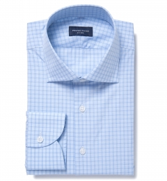 Ravenna Light Blue Check Fitted Shirt