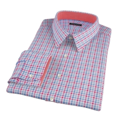 Thomas Mason Red Blue Multi Check Fitted Shirt