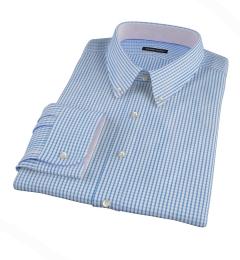 Canclini Royal Blue Medium Grid Fitted Dress Shirt