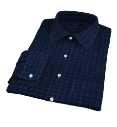 Cascade Blue Tonal Gingham Flannel Fitted Dress Shirt