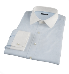 Pale Blue Mini Grid Fitted Dress Shirt