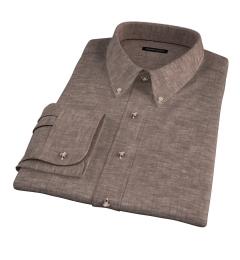 Canclini Brown Linen Custom Dress Shirt