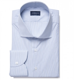 Canclini 140s Blue End-on-End Stripe Men's Dress Shirt