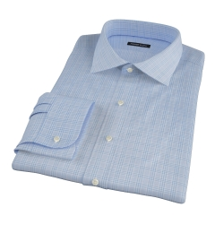 Thomas Mason Light Blue Glen Plaid Dress Shirt